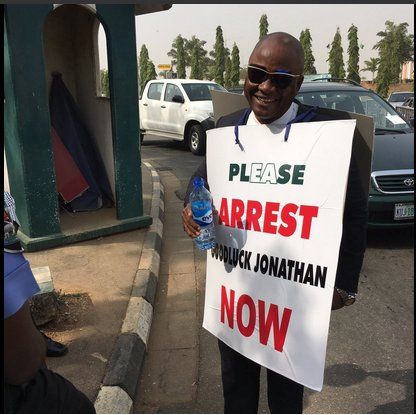Protester asks Buhari to arrest Jonathan