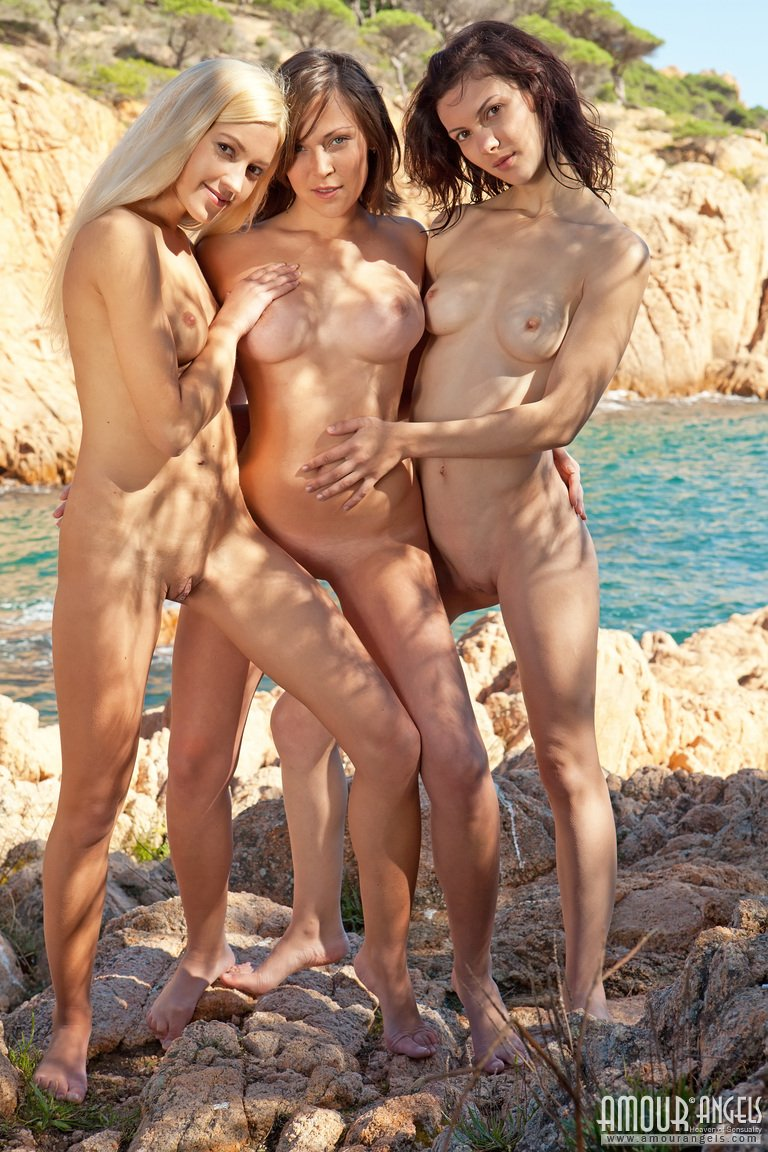 asian friends beach nude