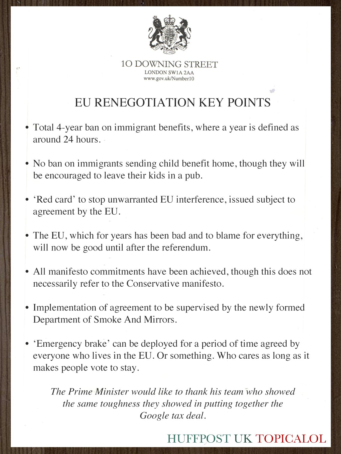 EU renegotiation. Government document sums up key points.  (done for @huffpostukcom) https://t.co/Rhmydg0rw5