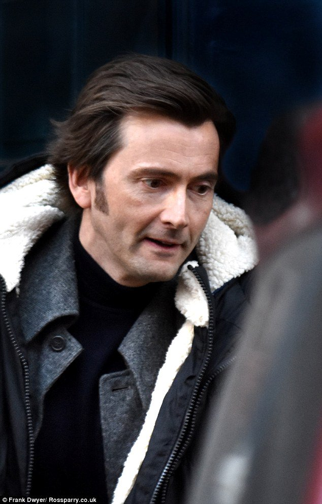 David Tennant on the set of Mad To Be Normal - 2/2/16