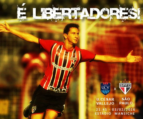 Hoje: @SaoPauloFC x U.César Vallejo, pela 1ª fase da Libertadores.@SporTV e @FoxSports_br transmitem p/ todo Brasil. https://t.co/jT7QbI6mH0