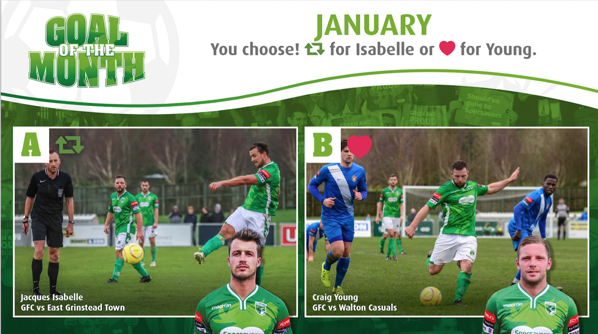 GOAL OF THE MONTH: January - Retweet: Jacques Isabelle or Like: Craig Young. Vote now! https://t.co/LeAuj5SQHC https://t.co/gbPsR8GicF