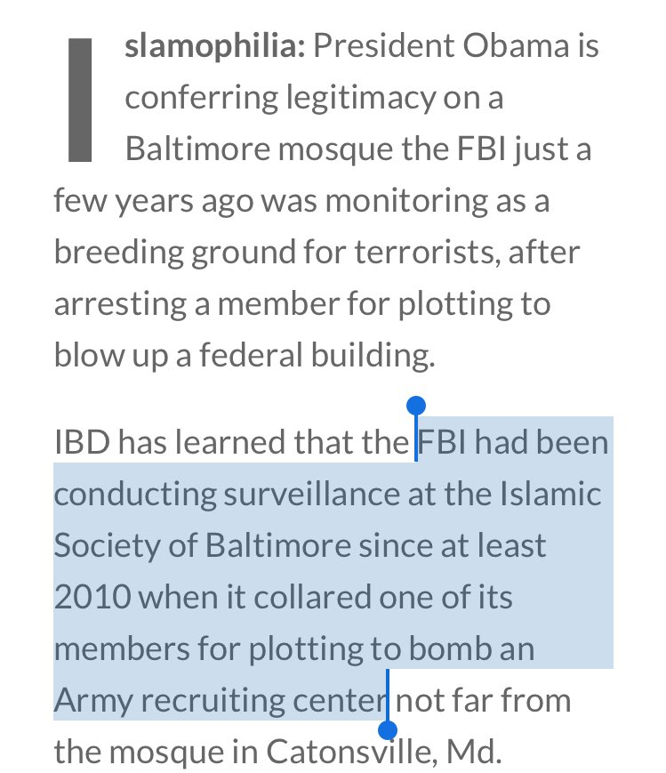 Obama Baltimore #mosquevisit under FBI surveillance since 2010