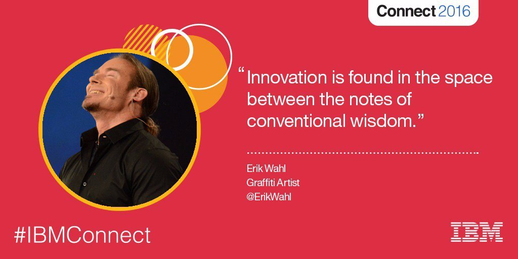Innovation and creativity are not genetic, but practiced skills. @ErikWahl #IBMConnect https://t.co/Vg17BrhSG0