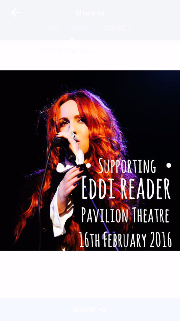 Thrilled to be supporting the wonderful @eddireader for her Dublin performance @PavilionTheatre Feb16th can't wait