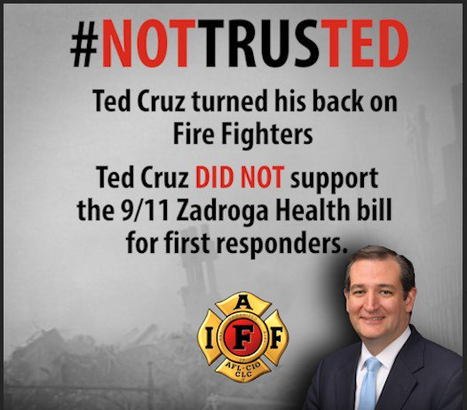 .@sentedcruz turned his back on fire fighters. He DID NOT support the 9/11 Zadroga Health Bill 1st responders. https://t.co/Mn7kYRNnt6