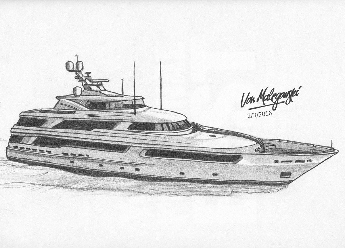 Von Malegowski On Twitter Luxury Super Yacht Drawing Sketch Illustration Superyacht Tco IR2sr0axQY
