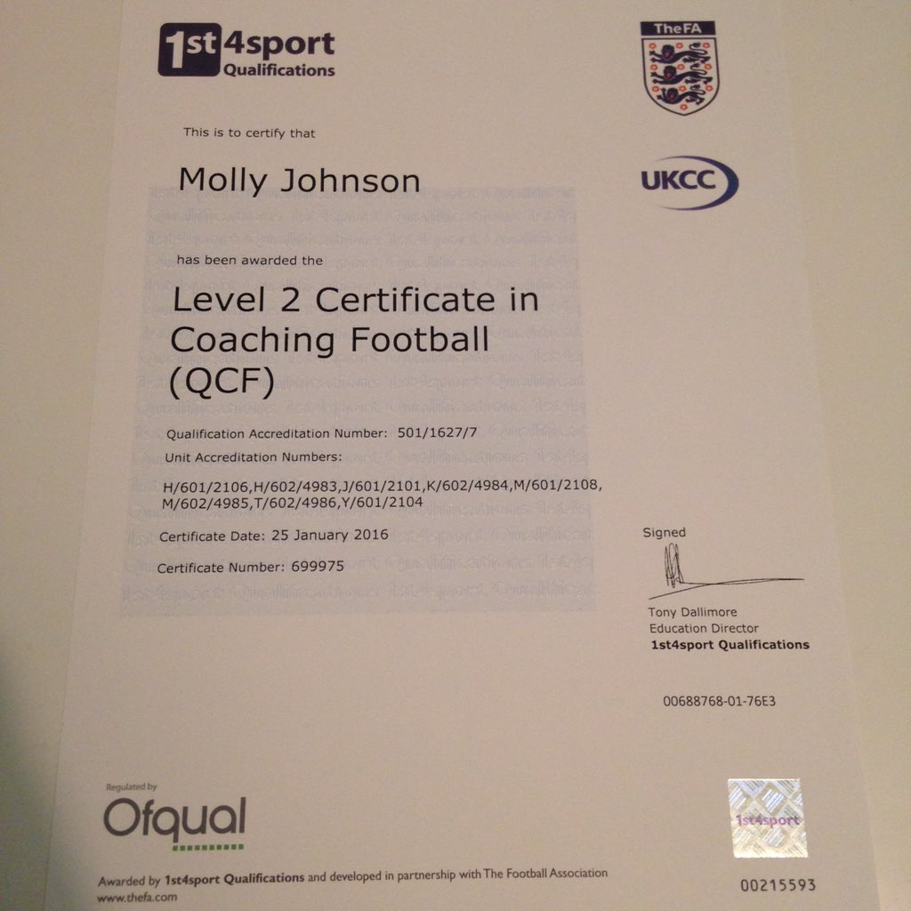 Molly Johnson On Twitter Its Official My Fa Level 2 Certificate