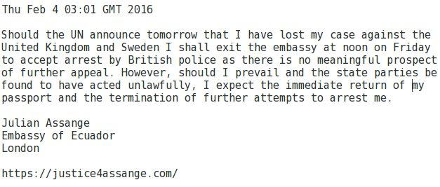 Assanges Stellungnahme auf Twitter
