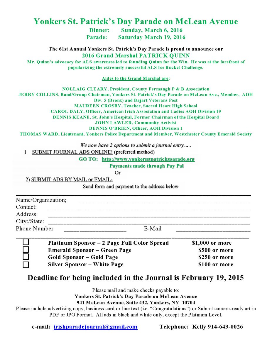 Yonkerssttparade on twitter help support the yonkers st patparade on twitter help support the yonkers st patricks day parade by sponsoring our journal see forms for info deadline feb reheart Choice Image