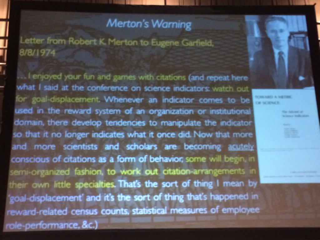 Gaming scientific metrics is as old as metrics: A 1970s letter from Merton to Garfield via Csiszar #gamingmetrics https://t.co/Ku1f7gqKC5