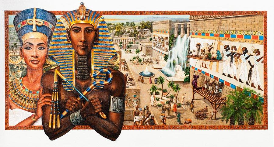 Akhenaton e Nefertiti.