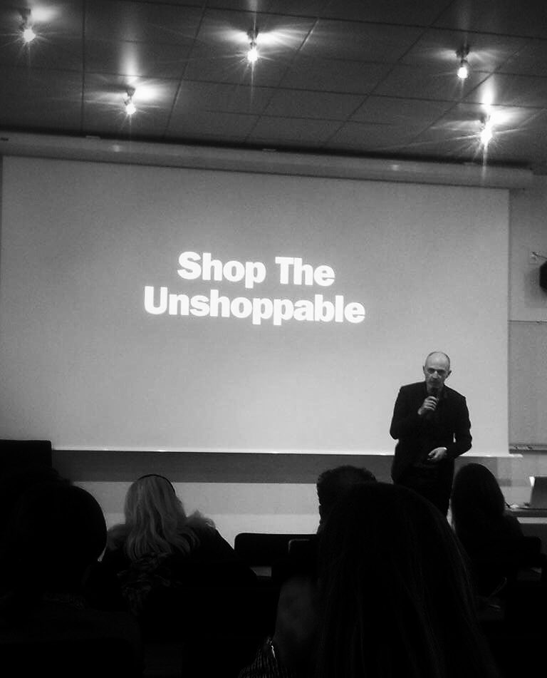 &quot;If you sell something, say something&quot;. On stage today at #CBParis #LaSorbonne about our work for @momastore!<br>http://pic.twitter.com/EqHmi9nCXj