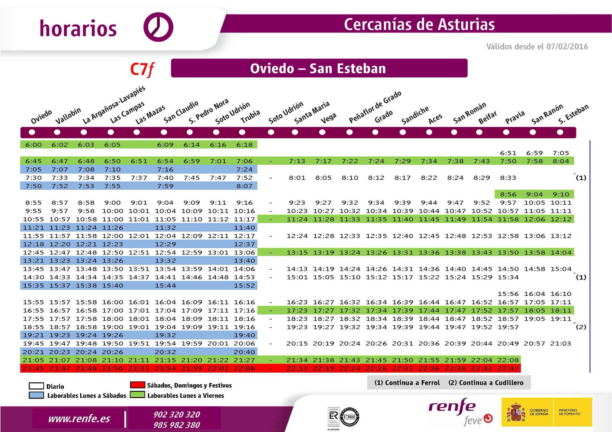Renfe on twitter horarios l nea de feve oviedo san for Horario de trenes feve