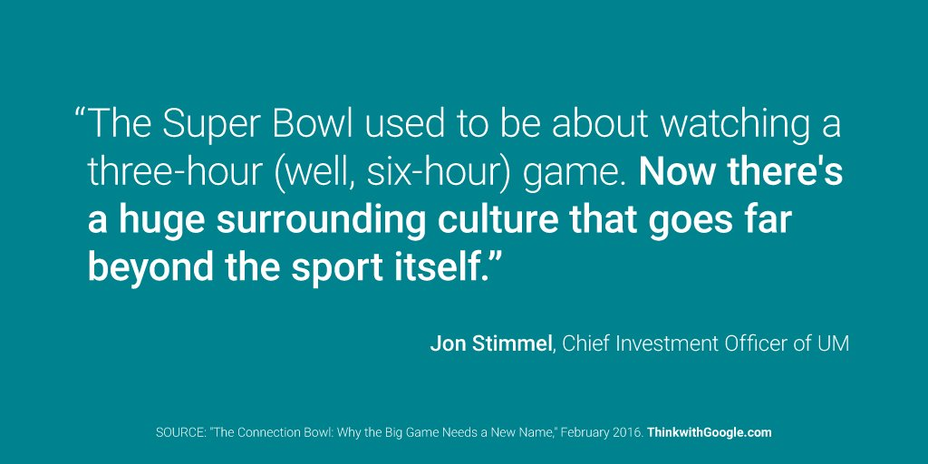 RT @ThinkwithGoogle: Jon Stimmel of @UMWorldwide shares how brands can create connections beyond the big game: https://t.co/5lPSQbwsqf http…