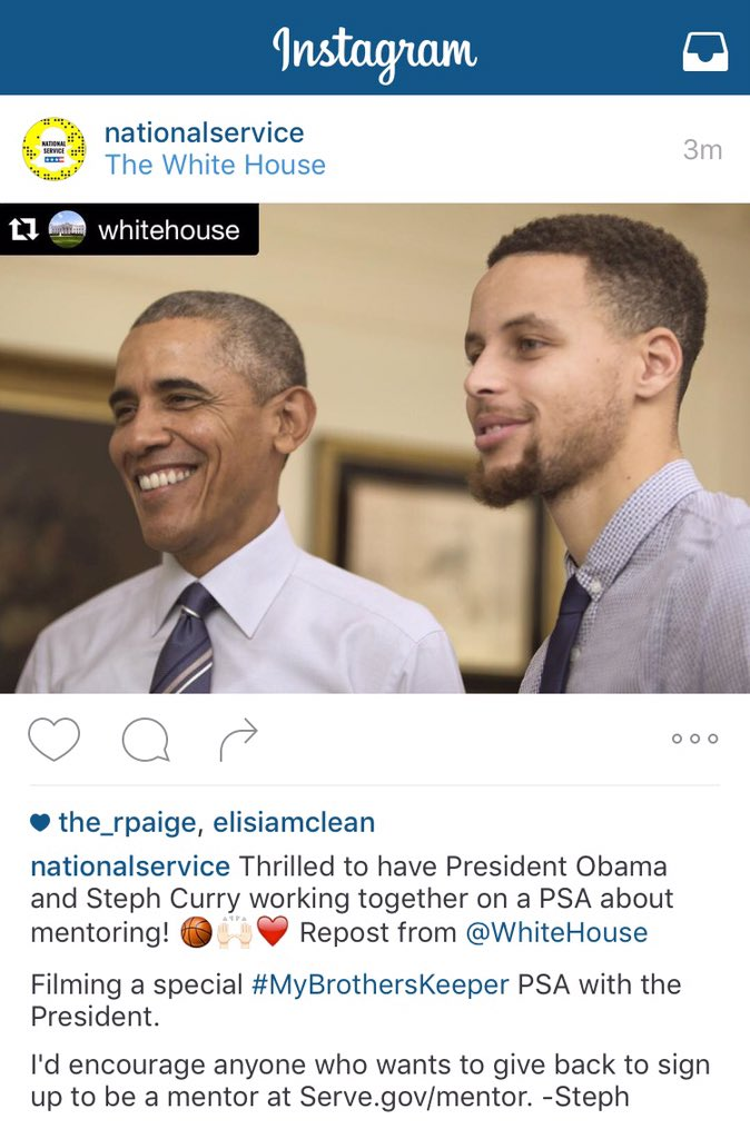 Looking forward to the PSA that @StephenCurry30 & @POTUS are working on about mentoring!
