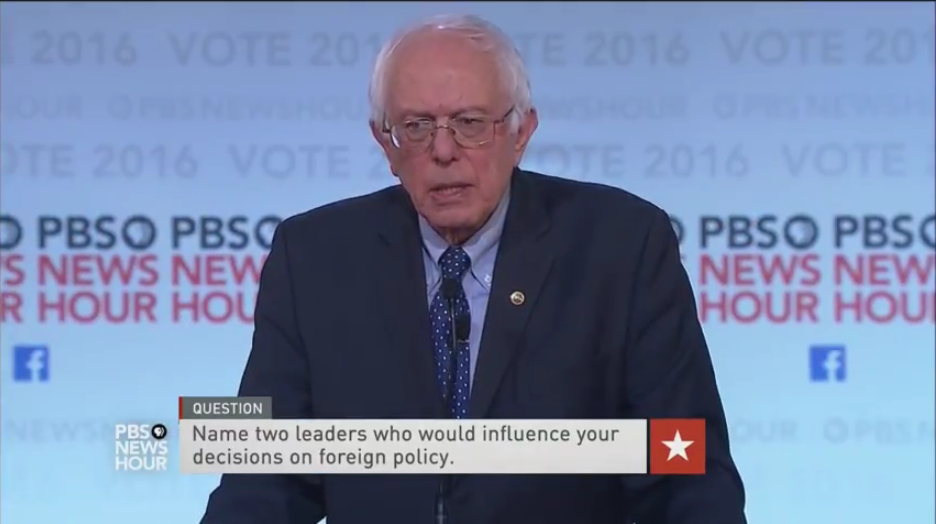 Bernie Sanders chose FDR and Winston Churchill DemDebate