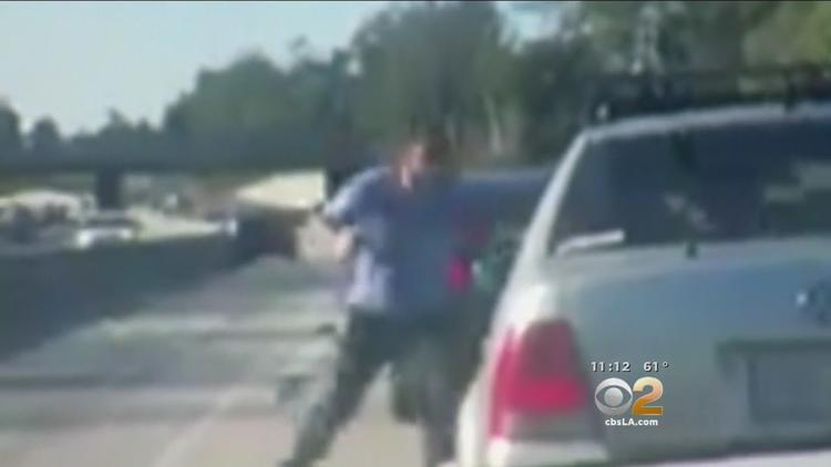 shows road rage attack on freeway near Glendale