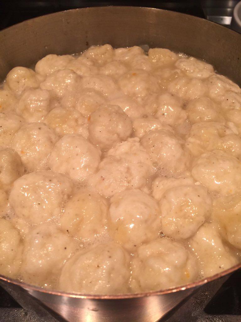Chicken & Dumplings. I love when the dumplings first rise to the surface. https://t.co/hm7umXCJIM