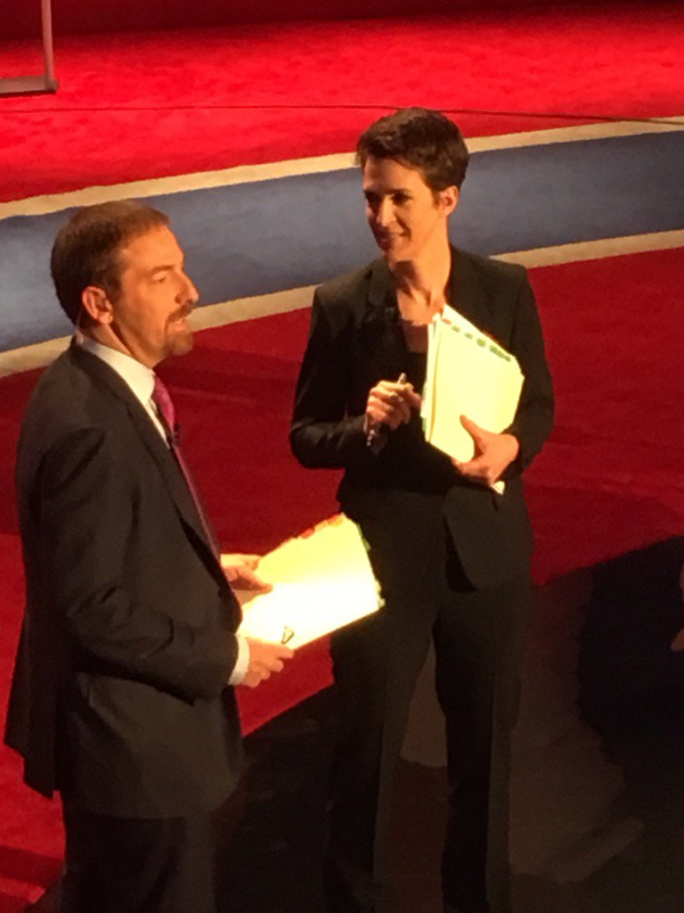 @chucktodd and Rachel Maddow take the stage doing a warm up act #MSNBCdebate