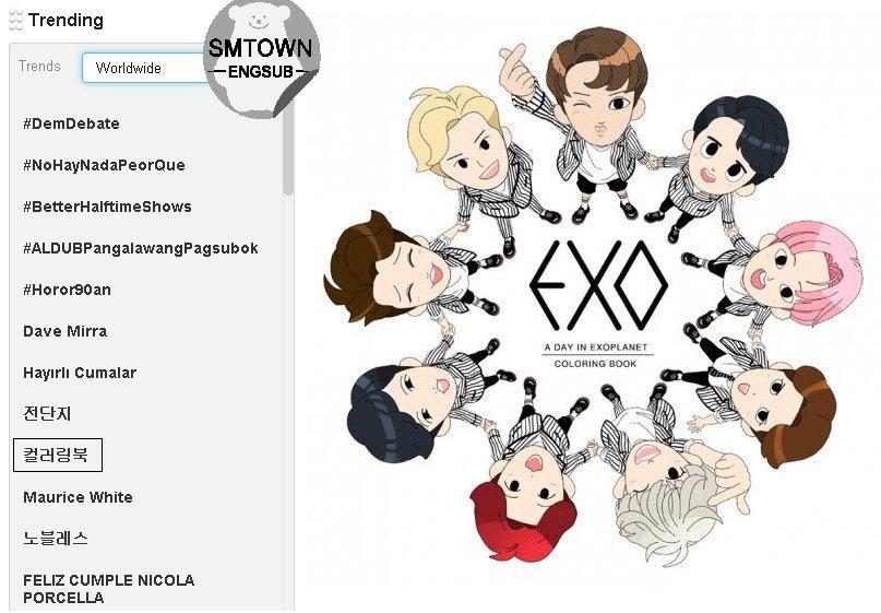 SMTownEngSub On Twitter EXOs Coloring Book Is Trending 9 Worldwide Tco V1dRJ0Pcye