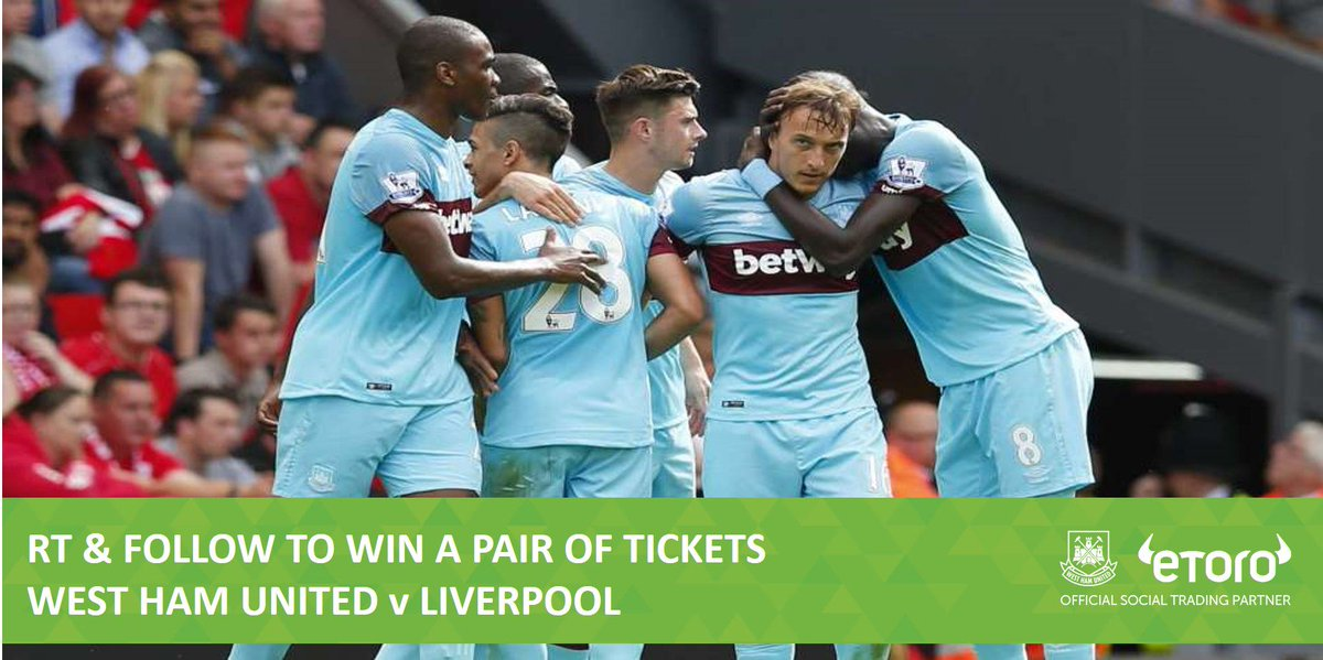 We're celebrating #WHUFC's 2-0 win by giving away tickets to #WHULFC on Tuesday! RT & follow to enter! #COYI https://t.co/qJHQz0gDnn