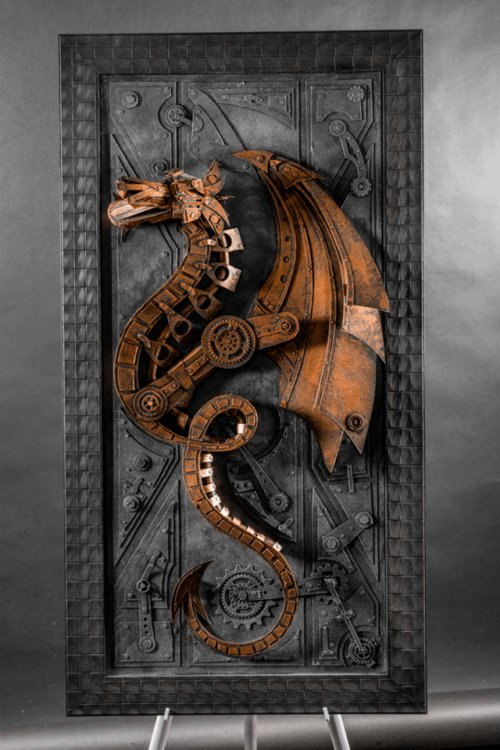 #Art Awesome of the Day: #Steampunk-ish Cardboard #Dragon #Sculpture by Lance Oscarson via @VicFoundry #SamaArt