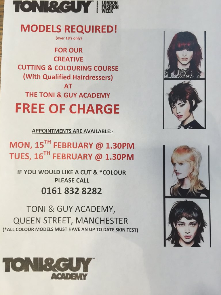 Toniguy Academy Manchester On Twitter Models Required At The Toni