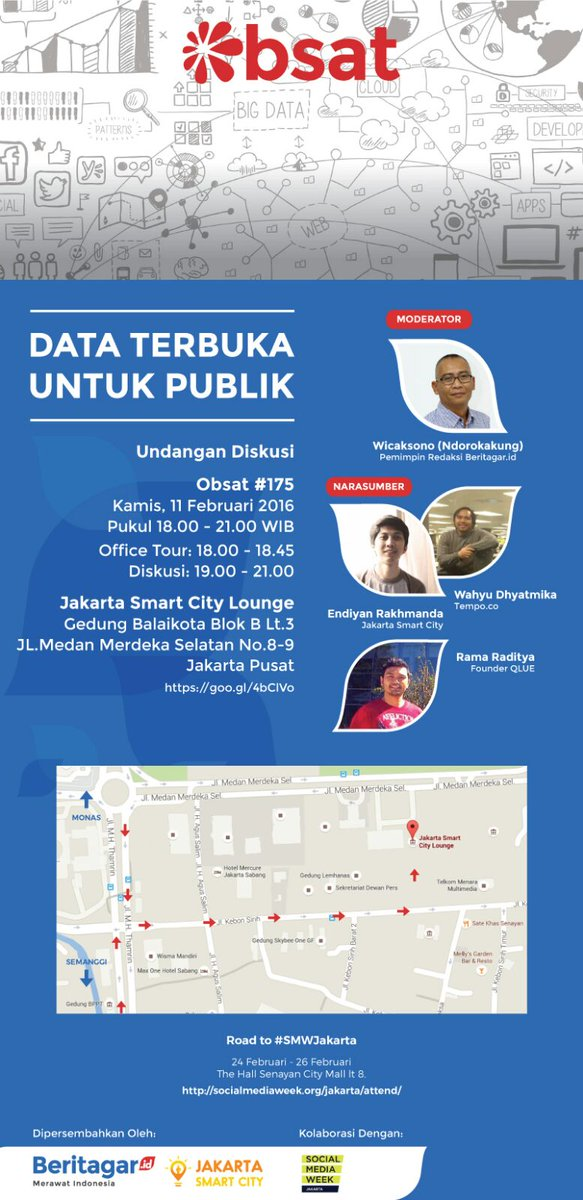 """Bertajuk """"Data Terbuka Untuk Publik"""", #Obsat @BeritagarID ke-175 berkolaborasi dengan@JSCLounge dan @SMWJakarta. https://t.co/VPRStEASjK"""