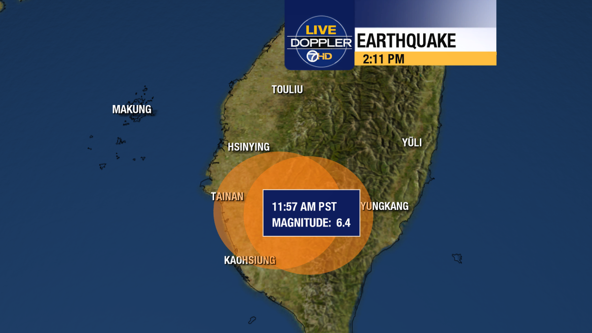 Magnitude 6.4 earthquake strikes southern Taiwan, near the city of Tainan that has a population of nearly 2 million