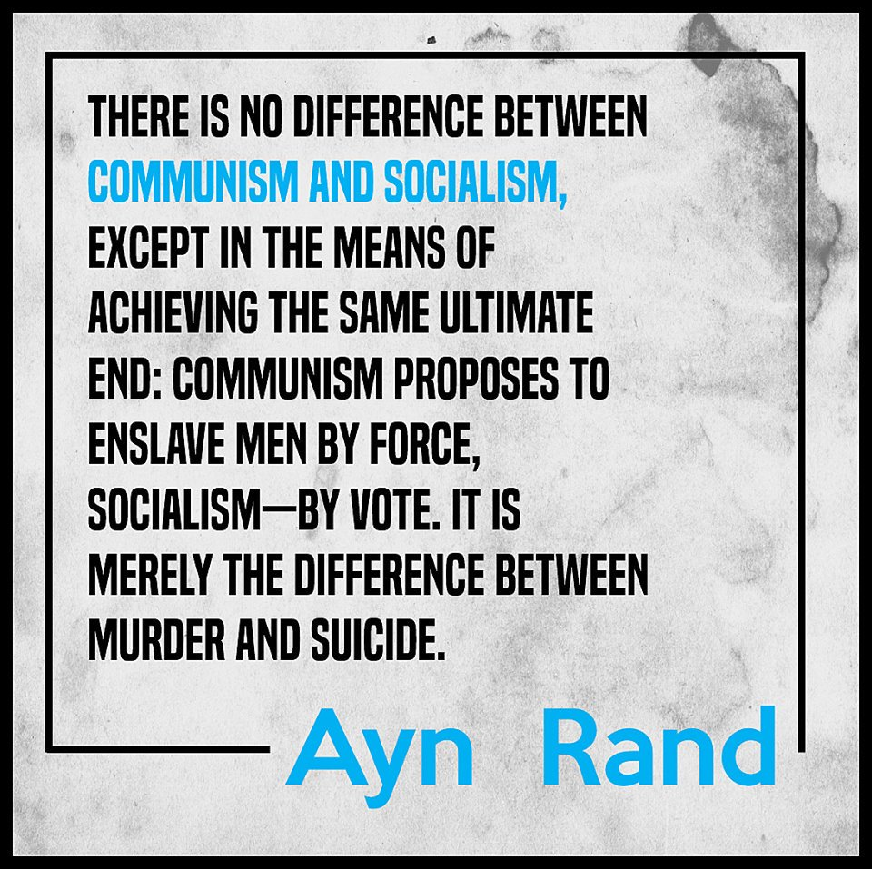 Ayn Rand on the difference between communism and socialism. https://t.co/ZAKBpZhWai