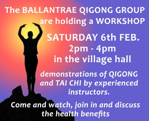 Discover QIGONG & TAI CHI TOMORROW Sat 6th Feb Ballantrae village hall 2-4pm Everyone 16+ years welcome