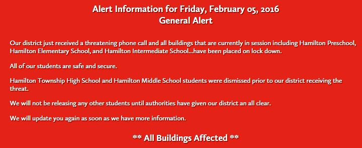 Hamilton Preschool, Elementary, and Intermediate Schools have been placed on lockdown after receiving a threat
