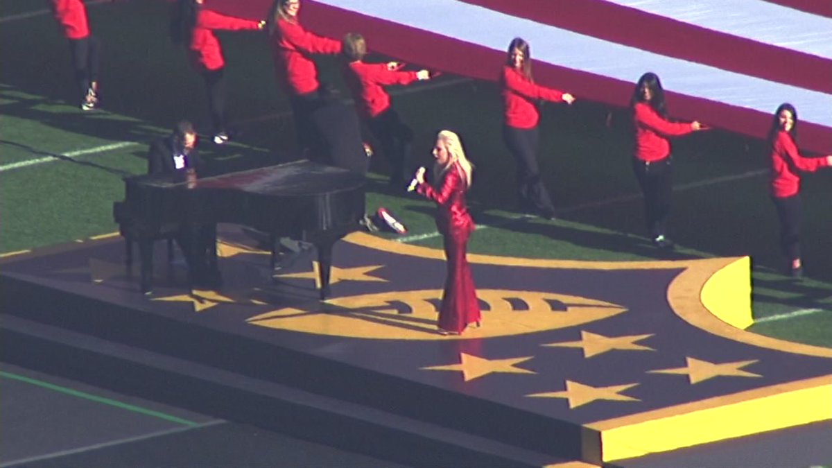 RAW VIDEO: Lady Gaga rehearses her Super Bowl 50 National Anthem performance -->