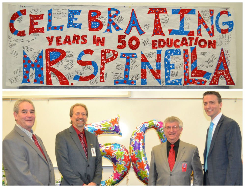 Congrats to East High Principal Sam Spinella! He was celebrated today for his 50 years in education! https://t.co/N7c8kD5f70
