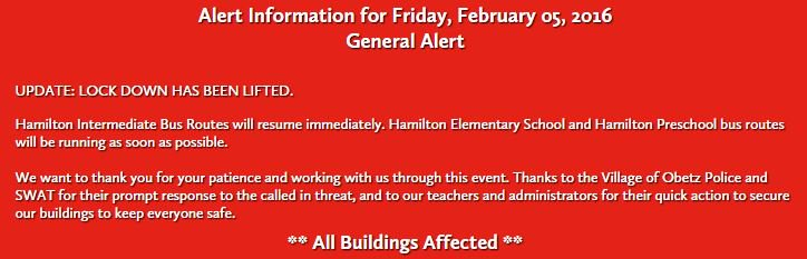 The lock down on Hamilton Local Schools has been lifted