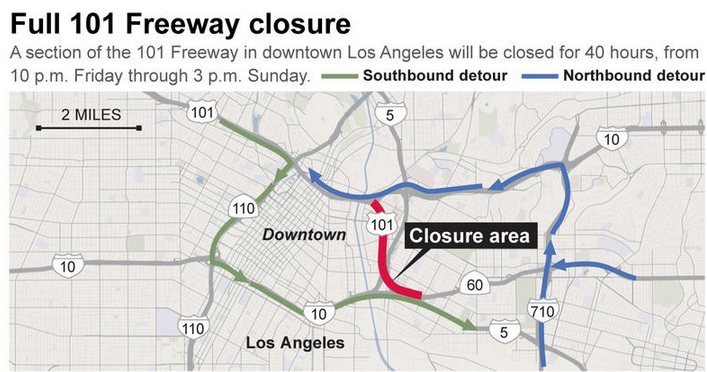 Reminder: Part of the 101 Freeway will completely shut down for 40 hours starting at 10 p.m.