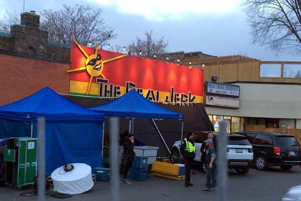 @Drake and .@rihanna are shooting a music video right now at the @RealJerkToronto