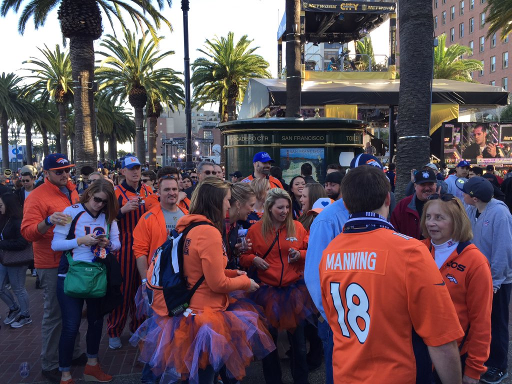 Sea of orange at SuperBowl city showing BroncosPride