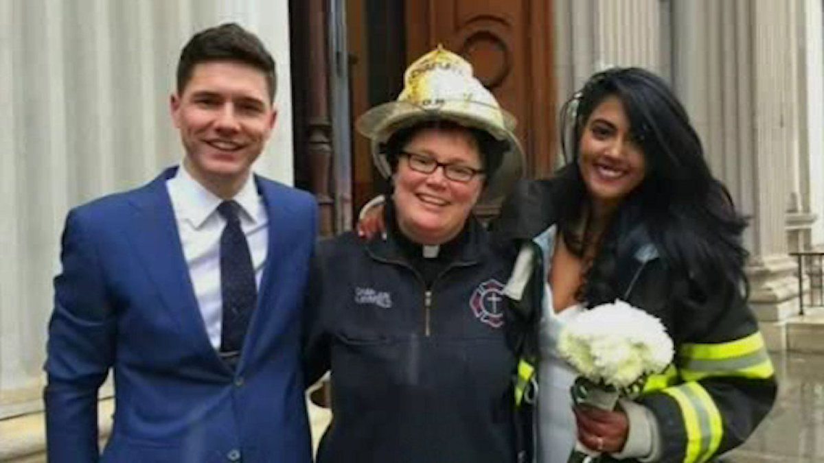 FDNY chaplain helps bride get to wedding after crane collapse & marries couple at City Hall