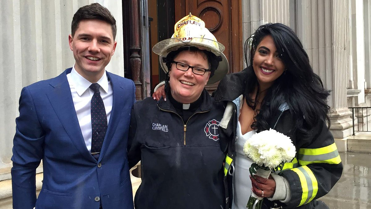 FDNY chaplain escorts bride amid crane collapse chaos, officiates impromptu wedding