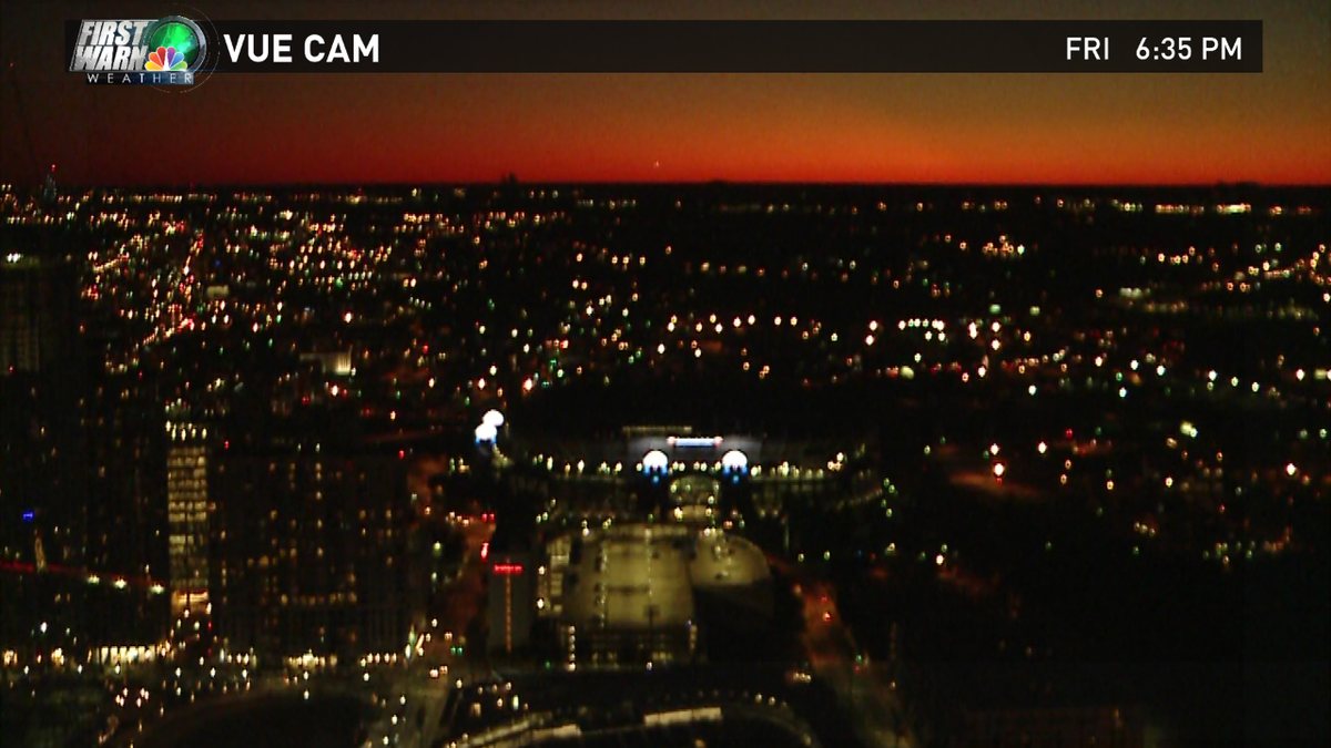 Twilight over Charlotte....temps falling into the 30s this evening