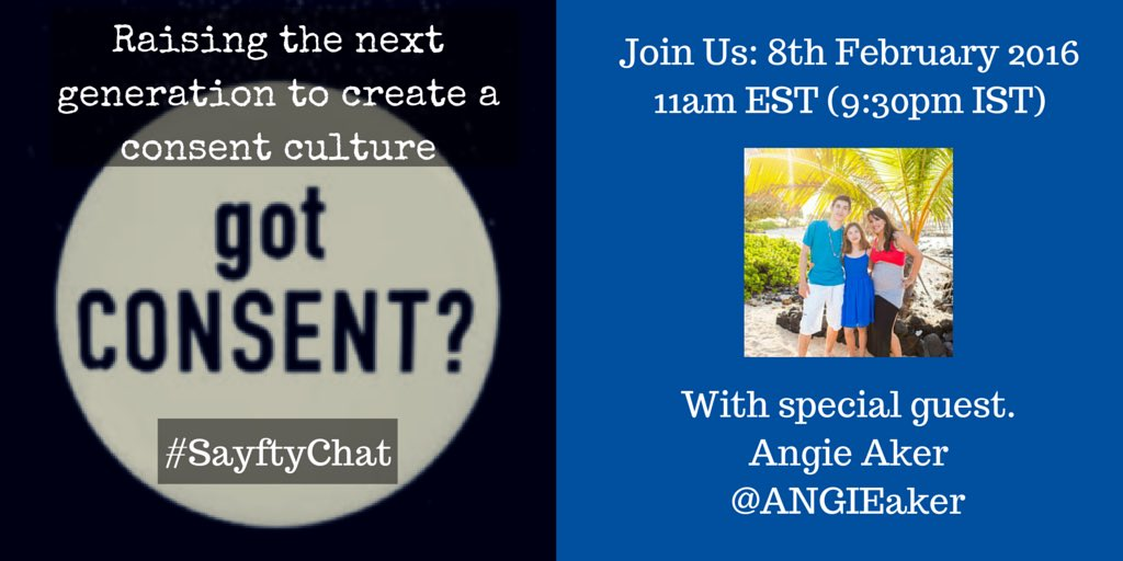 Join @ANGIEaker to discuss consent culture this Monday on #sayftychat https://t.co/vWZ7Qu2r8i