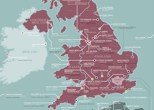 Map: The Locations Of 60 British TV Shows