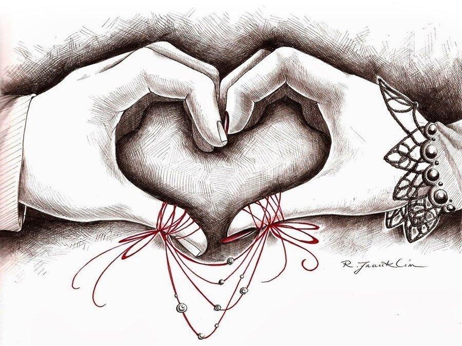 Черно красные рисунки про любовь