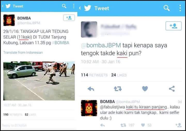 A quick witted and humorous comeback reply from BOMBA. #epic  #ambikkao @bombaJBPM @KP_bombaJBPM @kpkt_gov https://t.co/vxsaI0MmVw