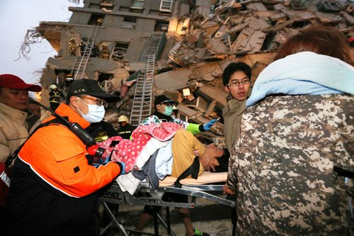 TAIWAN UPDATE: Tainan city emergency center says south Taiwan quake death toll rises to 5