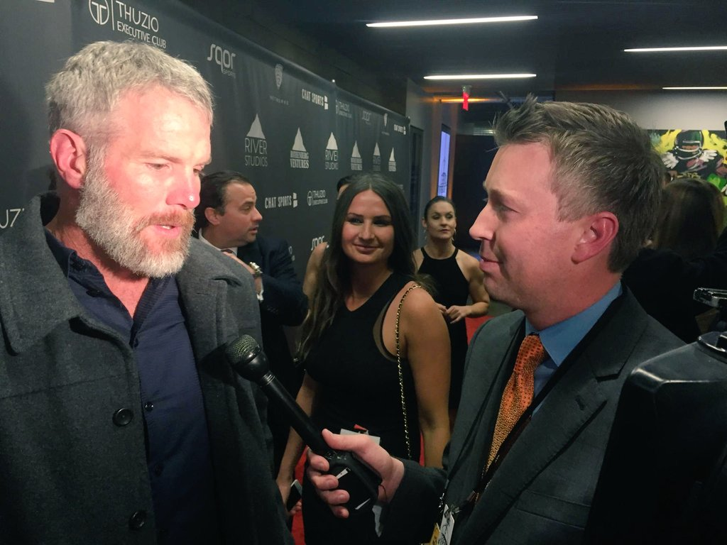 Talked to Brett Favre tonight. He's the only one that picked the Broncos on the red carpet. Says Peyton's his guy.