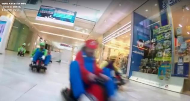 SEE IT: Adults go on real-life Mario Kart race in shopping mall