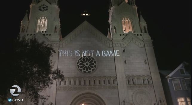 SF protesters use projectors in creative way to convey message on eviction